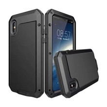 Luxury Shockproof waterproof phone case for iPhone X Armor Aluminum Metal Cover Gorilla Glass