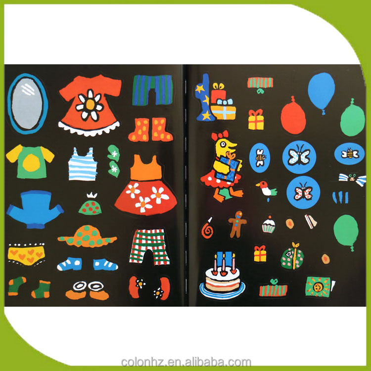 Colorful childrens book individual sticker printing cheap custom made stickers