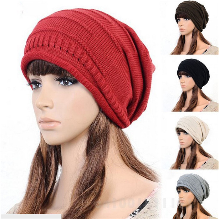 Autumn & winter hat for women knitted slouchy beanie,Spain gorros womens bonnet,female Skull Chunky Baggy warm head Cap