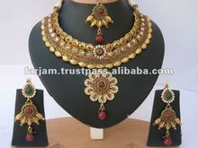 INDIAN DESIGNER POLKI & JHUMKA EARRINGS JEWELRY SET
