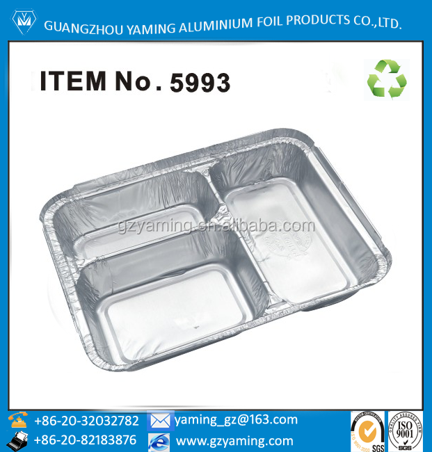 dinnerware sets aluminium foil food package tableware box three compartment foil take away food container