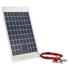 18V 10W Portable Solar Charger Panel External Battery Pack With Crocodile Clips