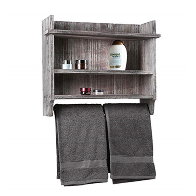 Distressed Gray Barnwood Wall-Mounted Stemware Glasses & Wine Bottle Display Rack