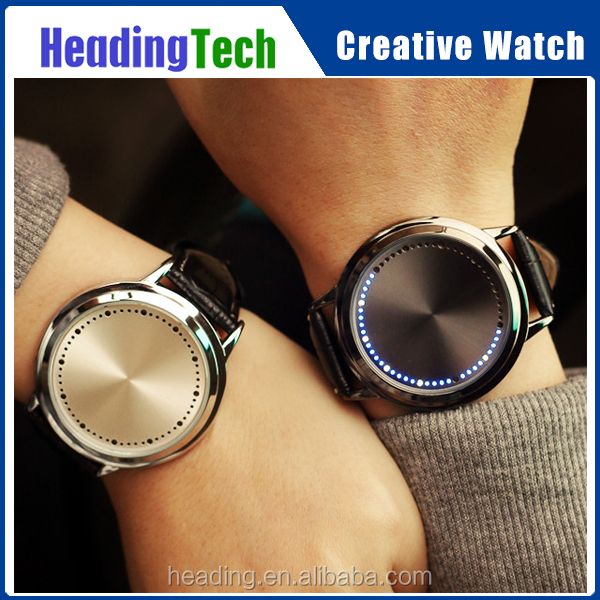 Creative fashionable leather wrist waterproof LED touch screen couple watches