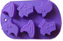 6 cavity halloween pumpkin shaped silicone molds for microwave cake