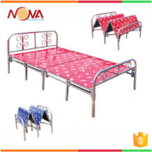 Space saving cheap used modern steel metal super single folding cot bed wholesale
