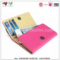 The cheapest leather cell phone wallet case from china factory