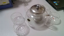exclusive clear borosilicate glass tea set/ stainless lid