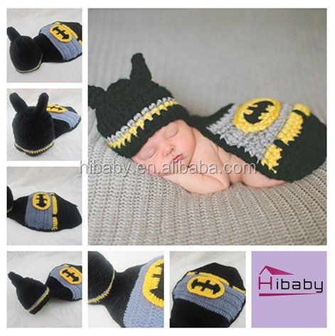 Batman baby photos sweater by hand Hat cloak conjoined photography props