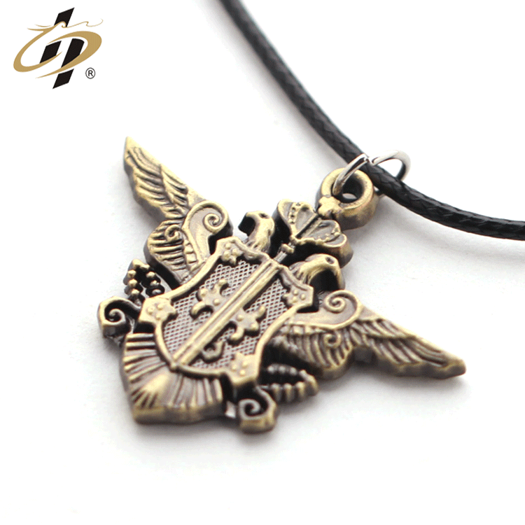 Top quality wholesale cheap custom 3d Bas-relief double eagle metal ancient gold dog tag with necklace