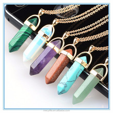 MECY LIFE hot sale bullet shaped hexagonal prisms gem pendant necklace