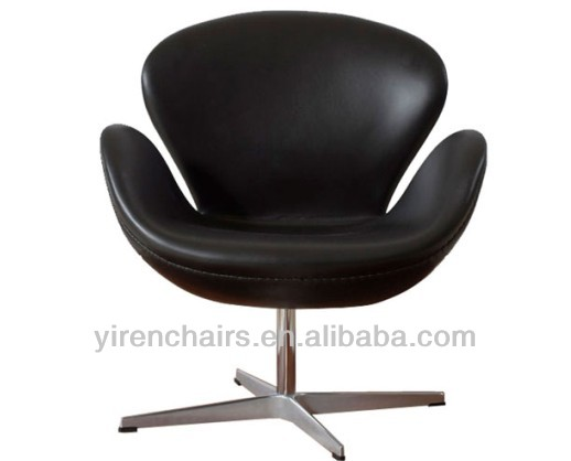 leather swan chair with steel leg