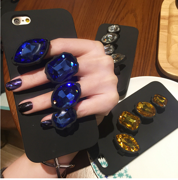 Jewel Brilliant Finger Ring Silicone Phone Case Cover For Apple iPhone 6s Plus
