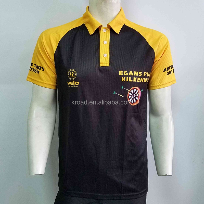 Design your own custom dart shirts jersey polo with pockets for team, sublimated dart t shirt