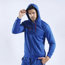 Autumn and winter new thickening plus velvet fashion trend <strong>sports</strong> and leisure men's zipper jacket running fitness clothes