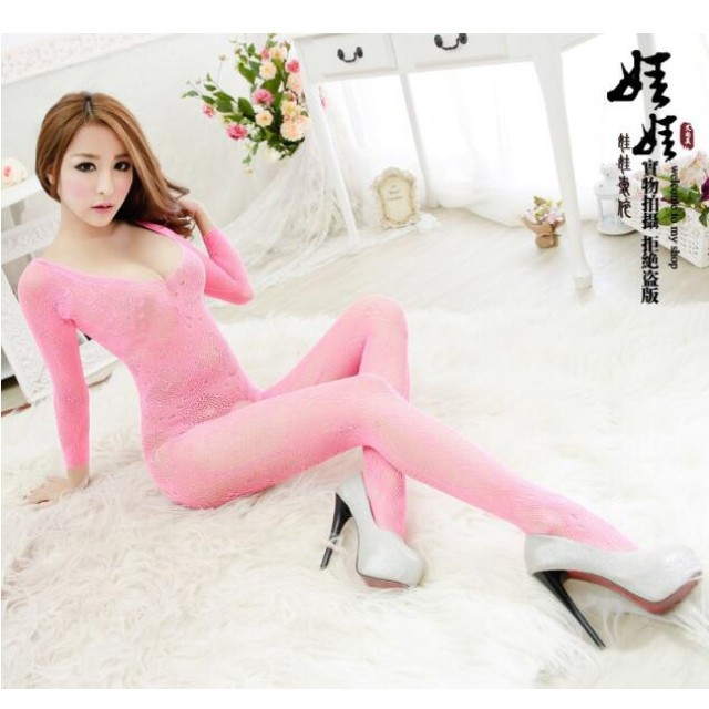 New body stocking sexy uniform temptation lingerie women's transparent hollow tight mesh clothing one-piece opening A323