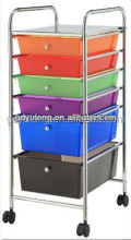 Removable Plastic Storage Colorful 6 Drawers Cart