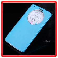 Alibaba express luxury Circular View Window Intelligent Case Cover Flip Folio PU Leather Cover Case for LG G3 Case