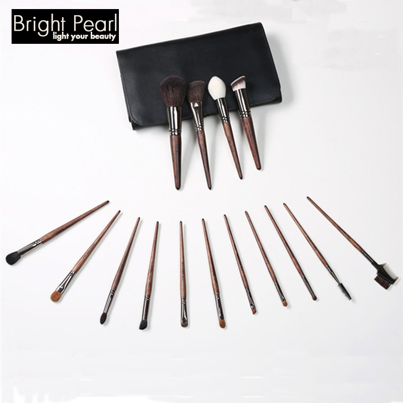 Mahogany Cosmetic Brushes 15 pieces with Animal Hair