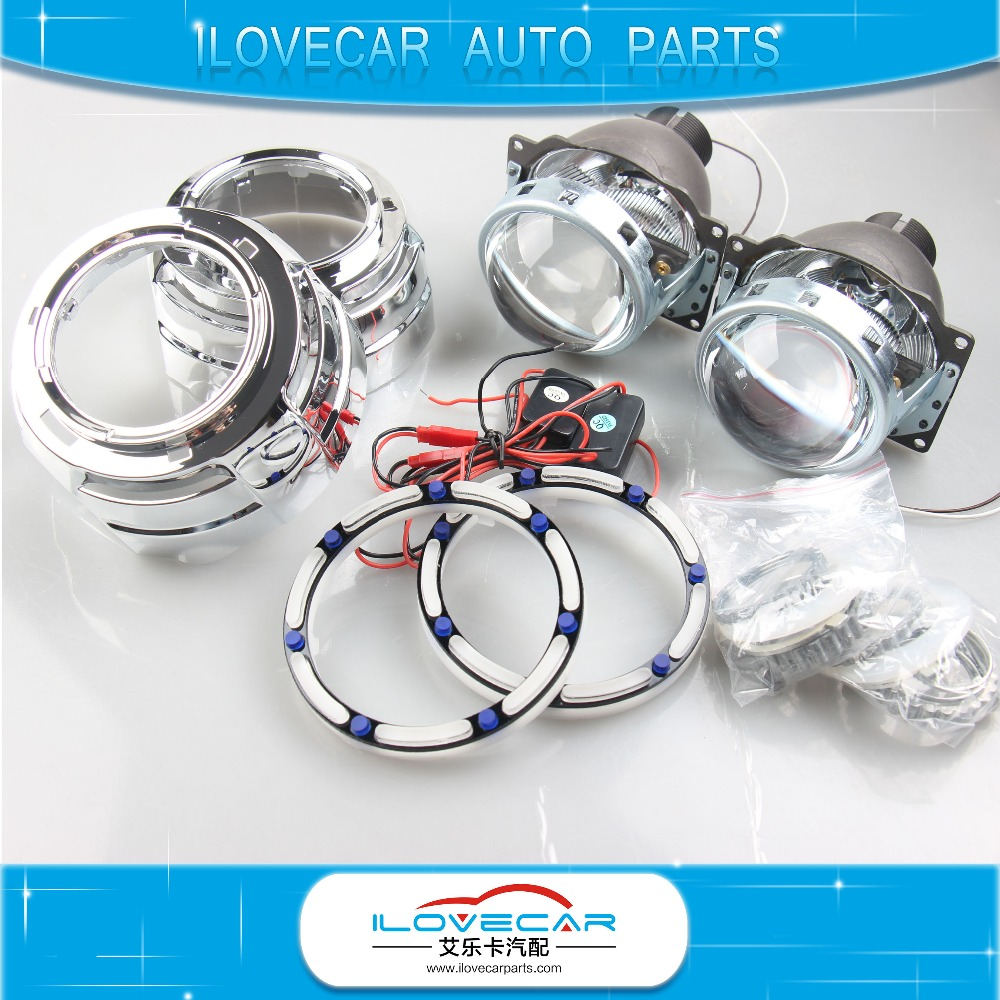 Hot Sale!! 3D Angel eye Hid Projector Lens Q5 H4 Headlamp Kit double angel eyes projector lens