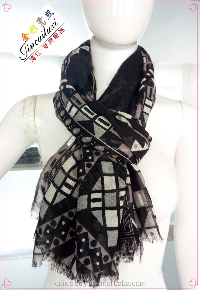 luxury brand design zig zag print big size scarf muslim woman hijab