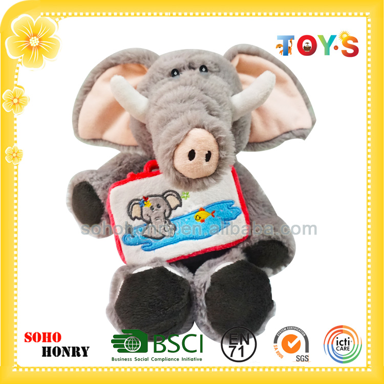 Custom plush toy elephant carrying a suitcase of summer series