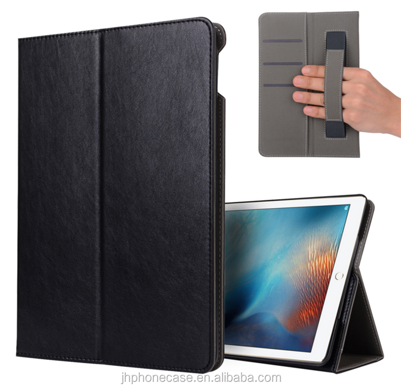 2017 Luxury genuine book leather wallet tablet case for New iPad 9.7 2017 flip cover with hand holder
