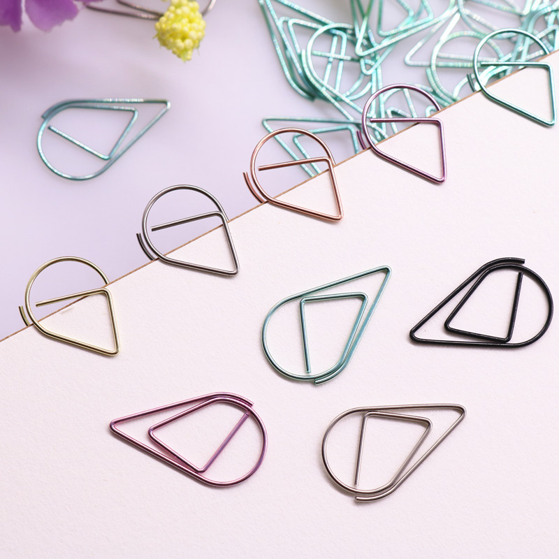 3.3 * 2cm Modeling Paper Clips Metal Water Drop Shape Golden Silver Black Colored Bookmark Memo Clips