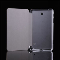 clear back cover triple folding leather flip case for samsung galaxy tab 4 8.0