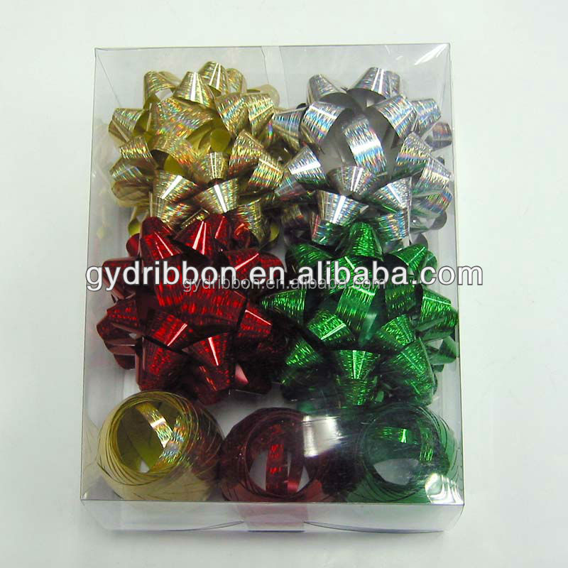 Gold Mettalic Star Bows/Silver Christmas Ribbons/Red Wedding Decorations and Green Party Wrap Ribbon Eggs