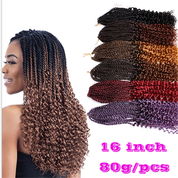 "30 Strands Synthetic Curly Senegalese Twist Hair Crochet Pre-loop Braids 16""inch Ombre BUG Kanakalon Hair for Braiding"
