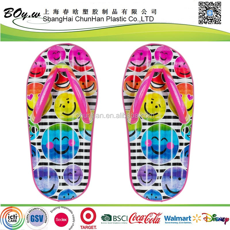 factory wholesale shoses air mattress full cover printing smile face pvc emoji pool float inflatable flip flops