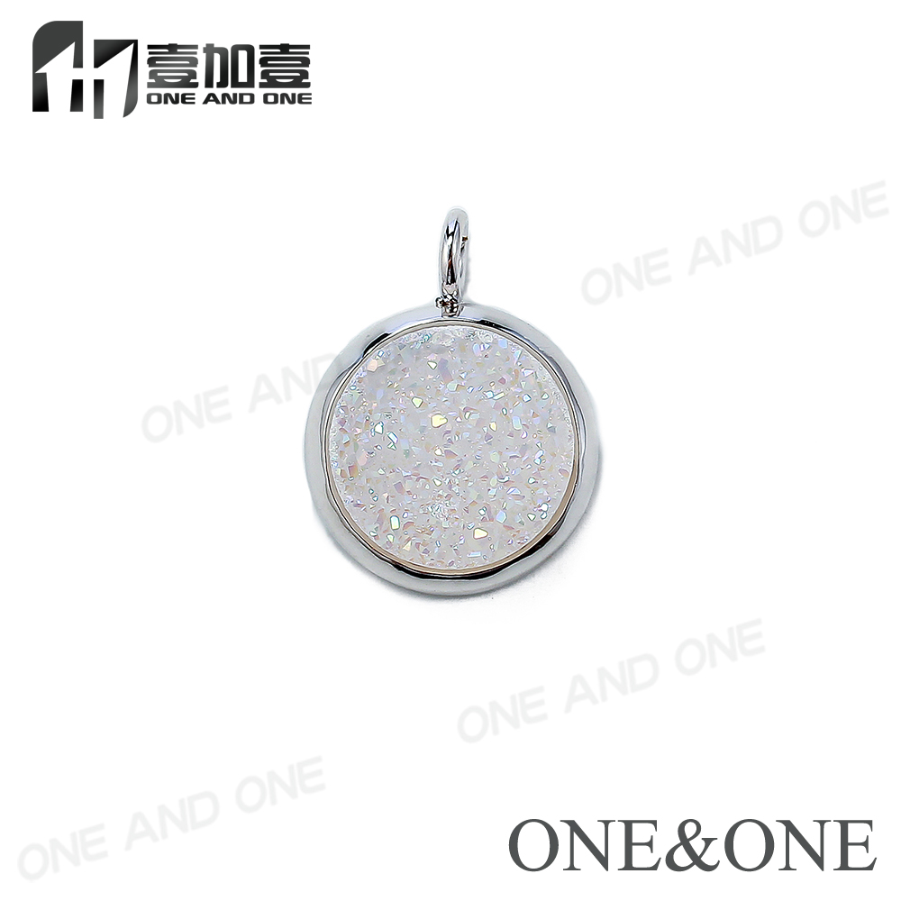 Latest Design Popular Fashion Opal White Agate Druzy Rhodium Plated Pendant