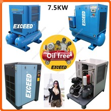 8bar 10bar Screw piston oil free 7.5 kw 10 hp air compressor