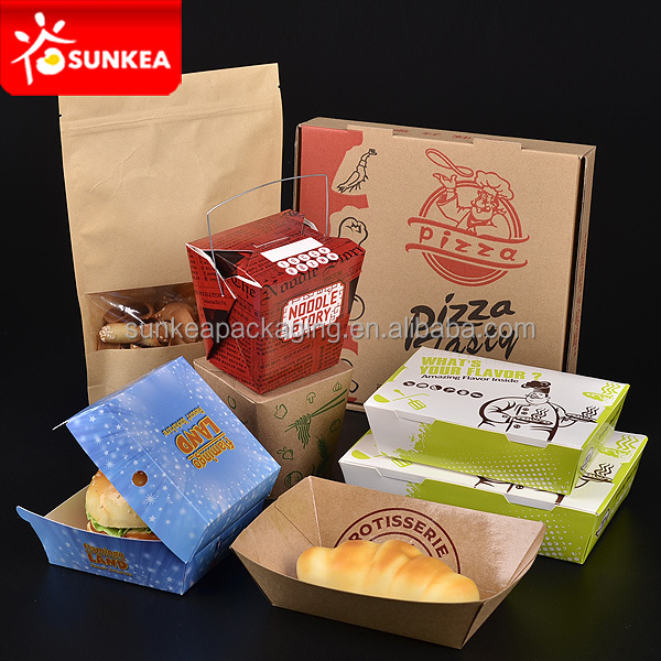 Disposable custom design printed kraft paper fast food packaging