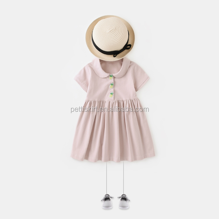 Solid Pink Dress Pineapple Button Peter Pan Collar Kids Frock Designs Short Sleeve Dress