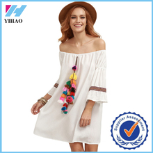Yihao Western Beach Short Ladies Casual White Tassel and Woven Tape Embellished Off The Shoulder Dresses for Women Summer Dress