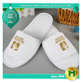 Walf Checks Hotel Slippers / Disposable Waffle Pattern Open Toe Guest Slippers / Custom Golden Embroidered Grid Cloth Slippers
