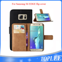 hot sale PU leather wallet flip cover for samsung S6 edge case