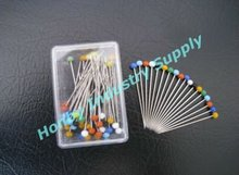 Clear Box Packing 32mm Bright Glass Head Needle Pin