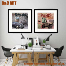 Modern Wecker Car Printed Picture Wall Art Painting for Wholesale Vintage Decor