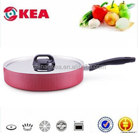 Aluminum cookware deep frying pan with stainless steel lid and bake-lite handle