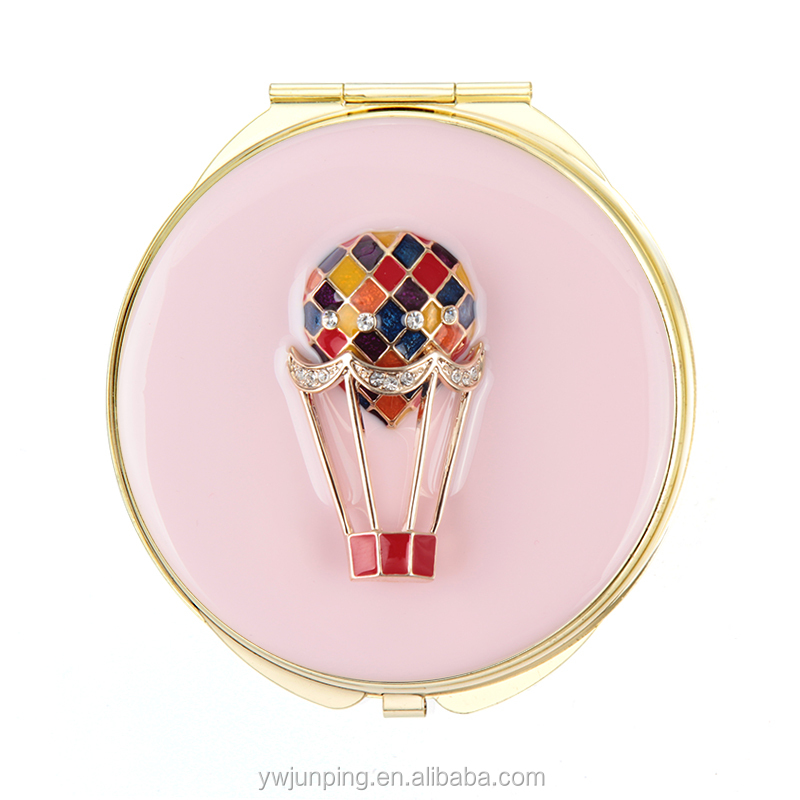 artist promotional crystal pocket mirror fashion metal shaving mirror decorative metal compact mirror