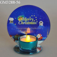 Blue christmas picture and letter printed votive candle holder