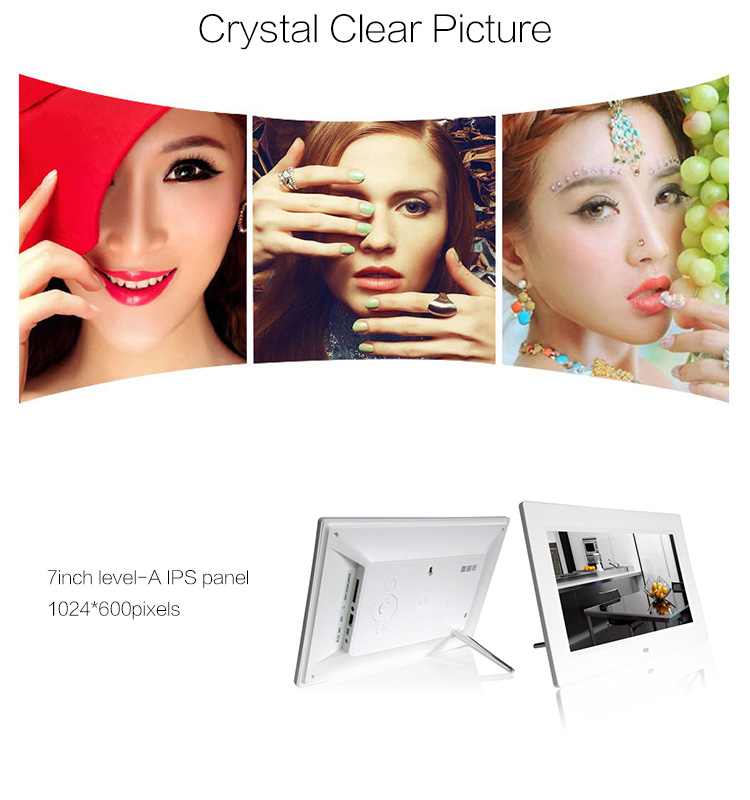 7 inch lcd screen player 1024*600 support mp3 video and picture advertising digital photo frame