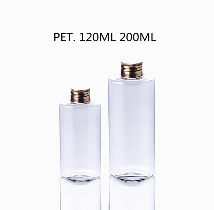 120ml 200ml Cylinder Clear PET Plastic Spice Bottles With Metal Bronze Color Screw Cap w/ Foil Sticker Seal/Liquid Dispenser Tip