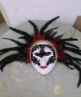 X-MERRY Hot sale custom made painted feathers venetian mask masquerade masks