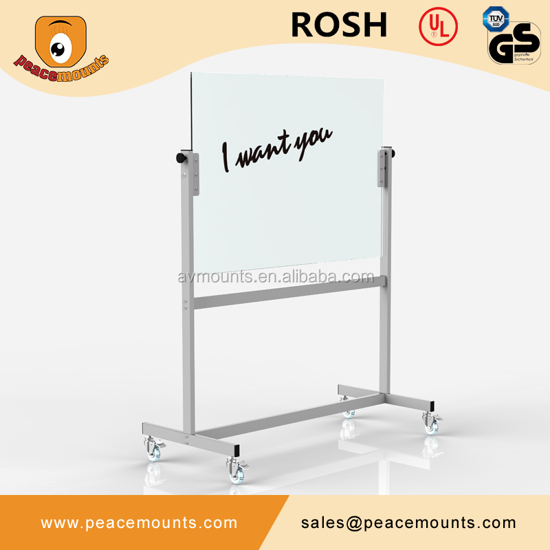 GB04 Business used high quality polished freestanding flexible magnetic tempered glass writing whiteboard