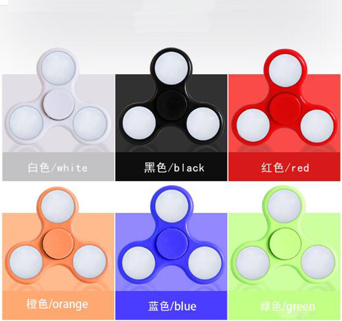 many in stock wholesale price with switch colorful LED fidget spinner