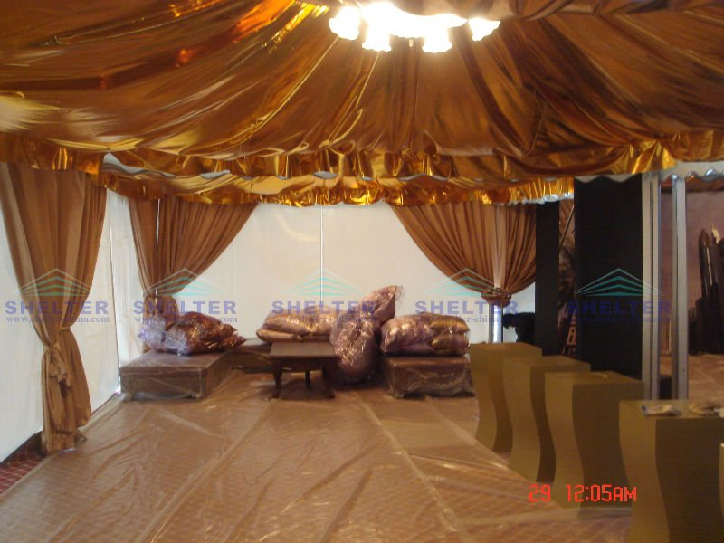 wedding party tent with roof decoraton with nice roof drapes